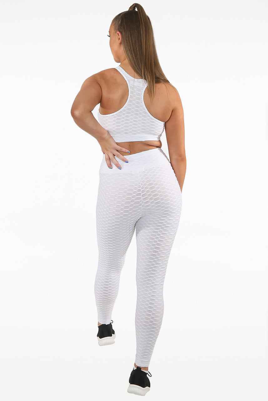 White Ruched Textured Active Leggings - Daniella