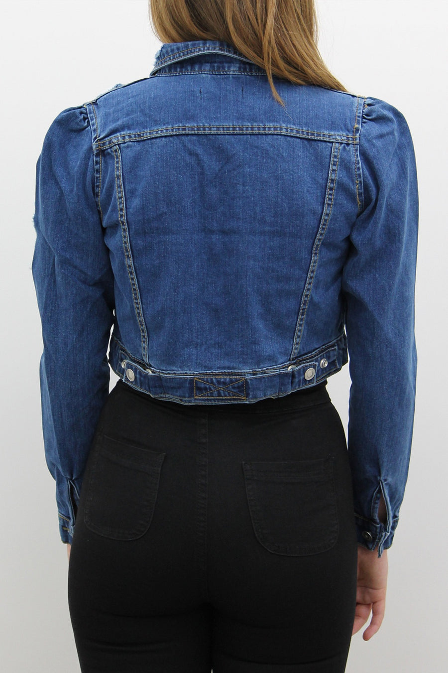 Denim Blue Distressed Crop Jacket - Harlow - storm desire