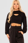 Black 2 Piece Cut Out Crop Top - Imogen