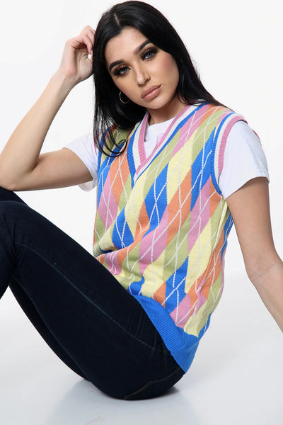Multi Colour Diamond Knitted V Neck Jumper - Claire