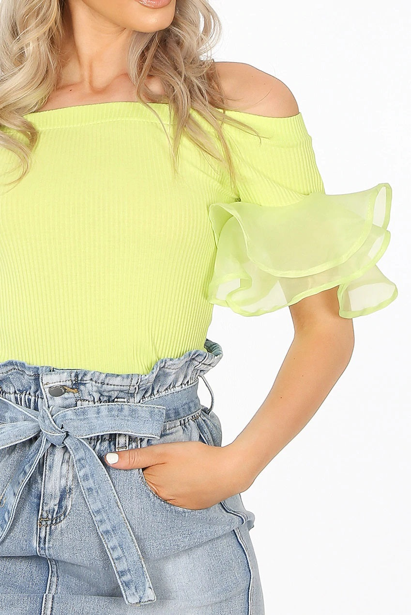 Lime Green Off Shoulder Ribbed Frill Sleeve Top - Valerie
