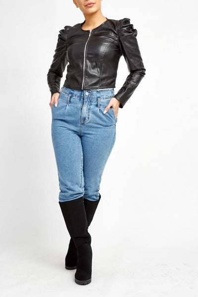 Black Puff Sleeve Zip Faux Leather Jacket  - Mabel