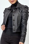 Black Faux leather Button Up Jacket - Kadence