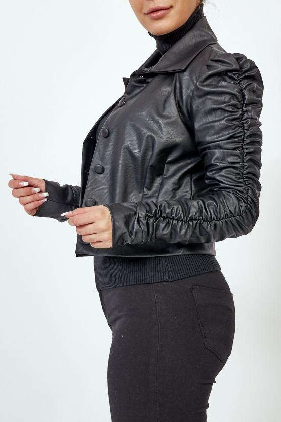 Black Faux leather Button Up Jacket - Hallie