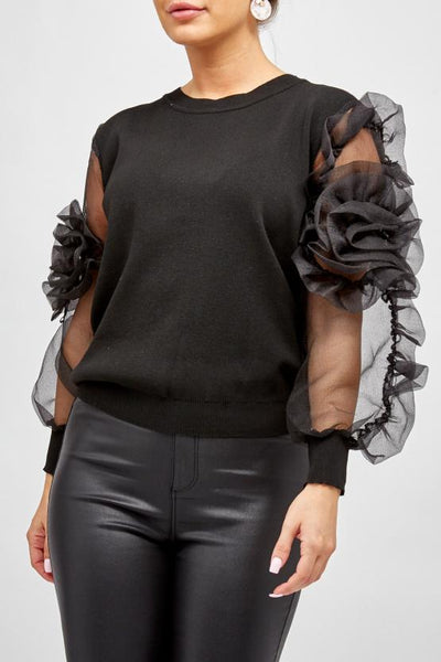 Black Organza Mesh Flower Sleeve Jumper - Paris - storm desire
