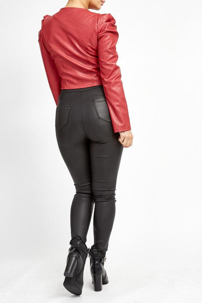 Deep Red Puff Sleeve Zip Faux Leather Jacket  -