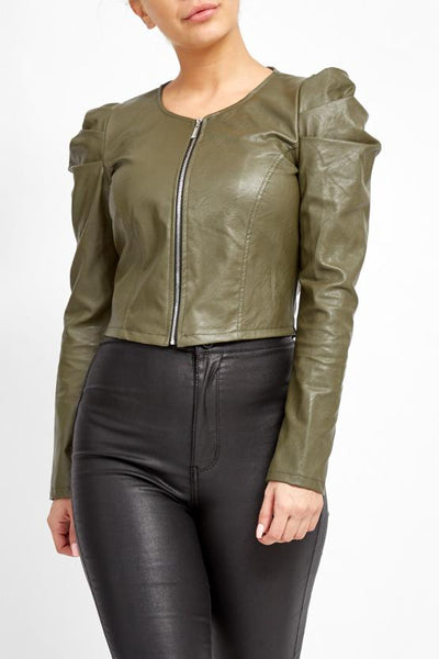 Green Puff Sleeve Zip Faux Leather Jacket  - Mabel