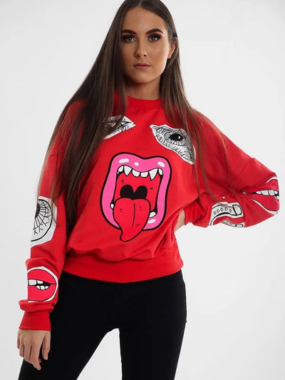 Red Monster Jaw Printed Sweatshirt Jumper - Lilly - Storm Desire