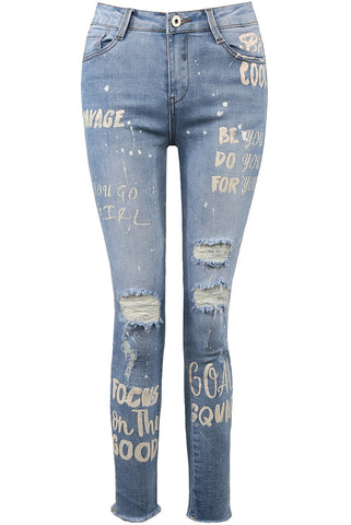 Slogan White Print Ripped Denim Jeans - Jessy