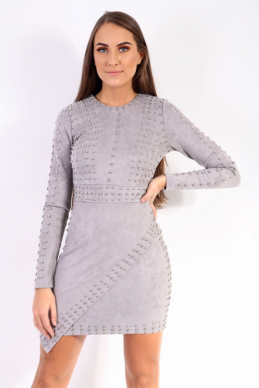 Faith Metal Stud Suede Bodycon Dress - Grey - storm desire