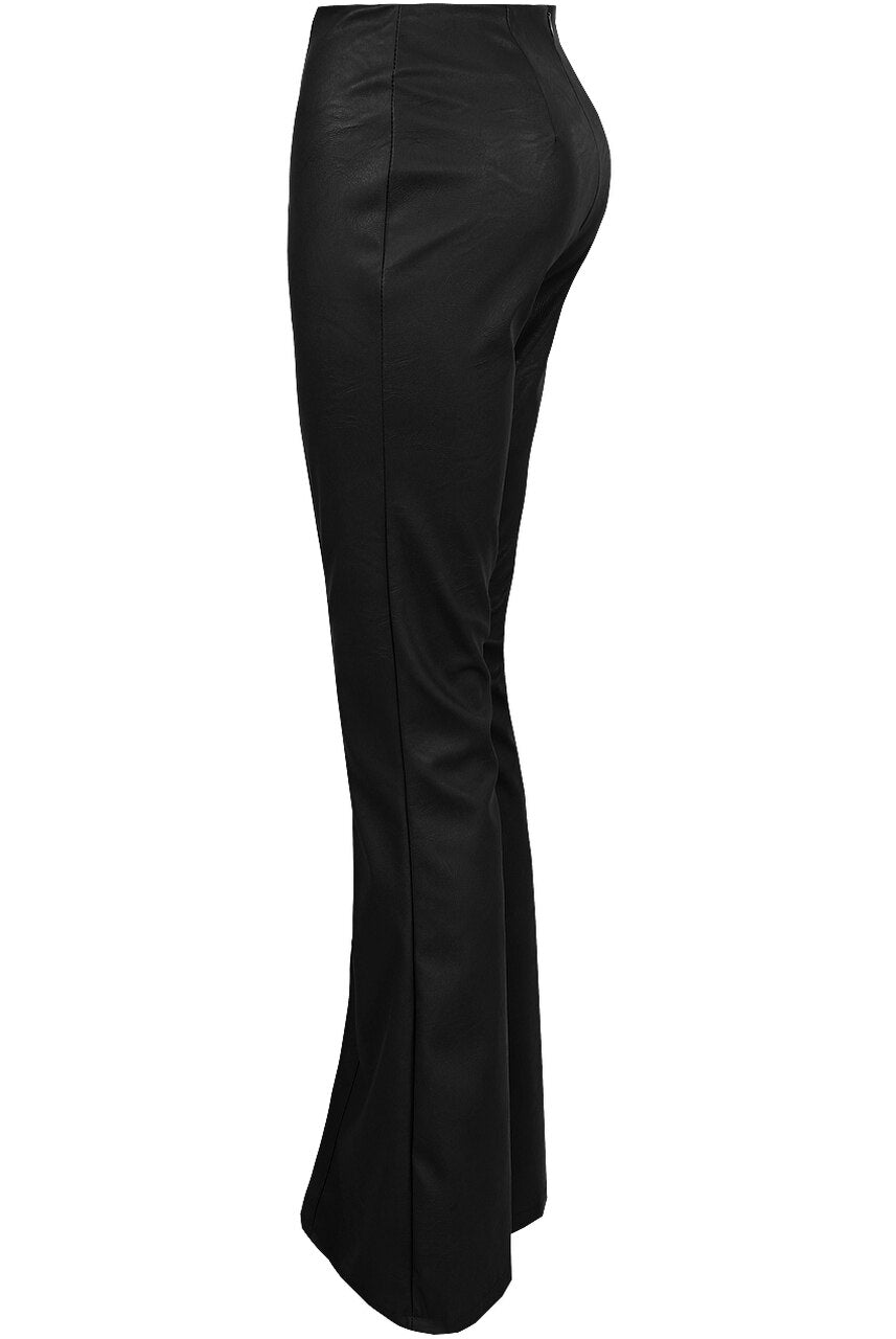 Black Pu Faux Leather Bell Bottom Trousers - Vivian
