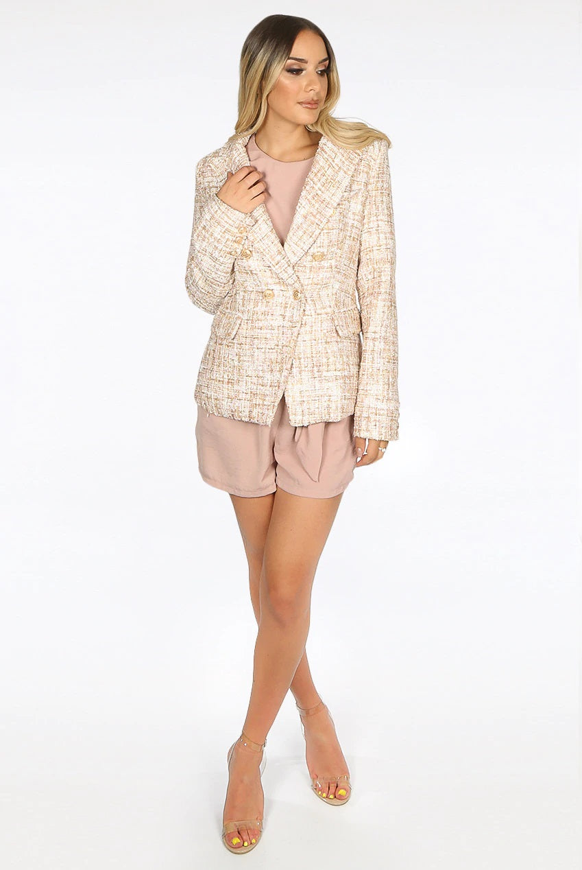 Back In Gold Tweed Double Breast Gold Button Blazer Jacket - Mora