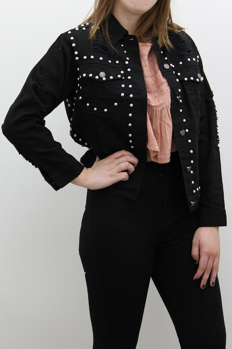 Black Denim Silver Stud Jacket - Ryan - storm desire