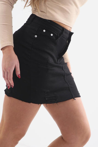 Black Frayed Distressed Denim Mini Skirt - @la.instatravel - storm desire