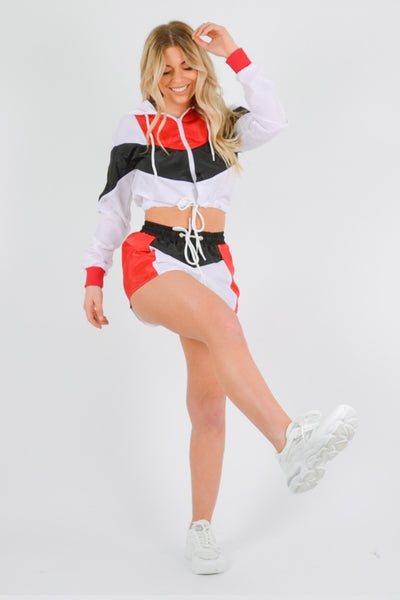 Red Colour Block Crop Jacket & Shorts Co-ord Set - Ivanna