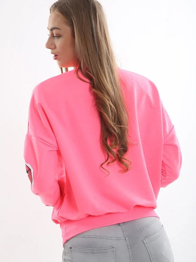 Neon Pink Monster Jaw Printed Sweatshirt Jumper - Lilly - Storm Desire