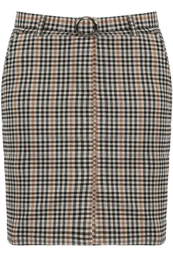 Brown Check Belted Mini Skirt - Jade - storm desire