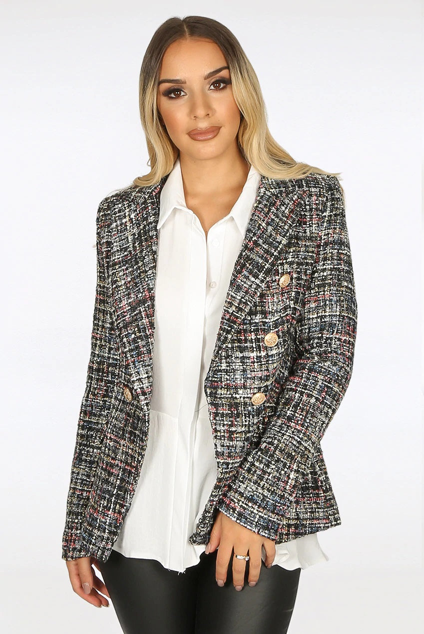 Black Tweed Double Breast Gold Button Blazer Jacket - Morgan - storm desire