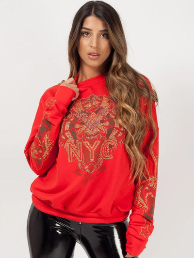Hot Red Tiger Printed Sweatshirt Jumper - Avery - Storm Desire