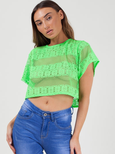 Neon Green Oversized Crochet Knit Baggy Crop Top - Josephine