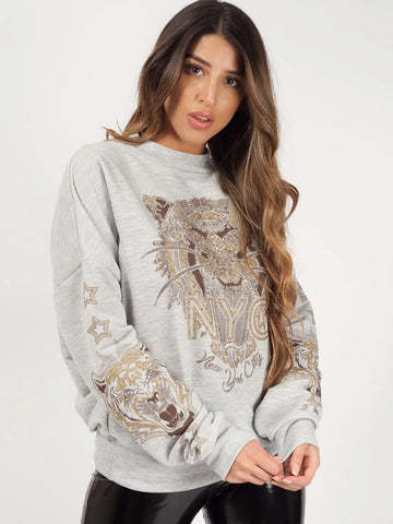 Grey Tiger Printed Sweatshirt Jumper - Avery - storm desire
