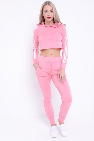 Fiona Side Stripe Cropped Loungewear Set - Baby Pink - storm desire