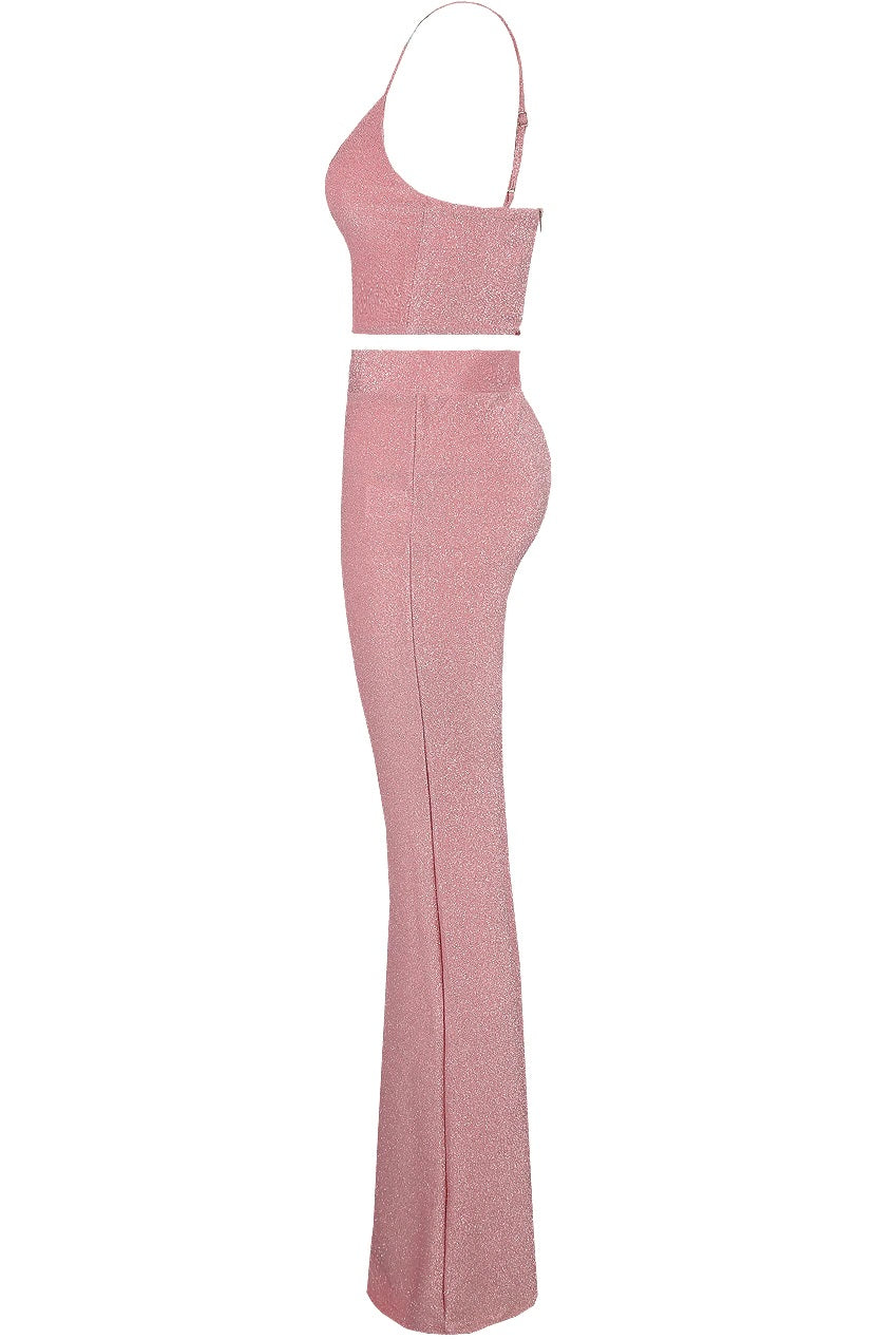 Pink Lurex Bralet & High Waisted Flare Trousers Set - Amelia