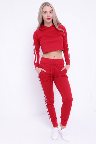 Fiona Side Stripe Cropped Loungewear Set - Red - storm desire