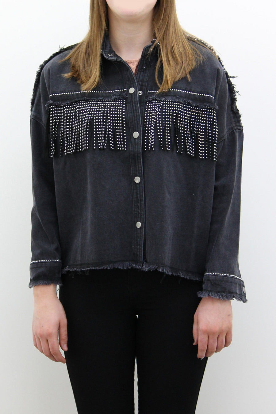 Dark Grey Denim Jacket With Diamante Fringe - Charlee - storm desire