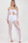 White Fishnet Tie Crop Top & Trouser Co-ord set - Khloe