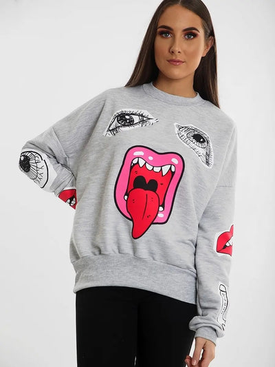 Grey Monster Jaw Printed Sweatshirt Jumper - Lilly - Storm Desire