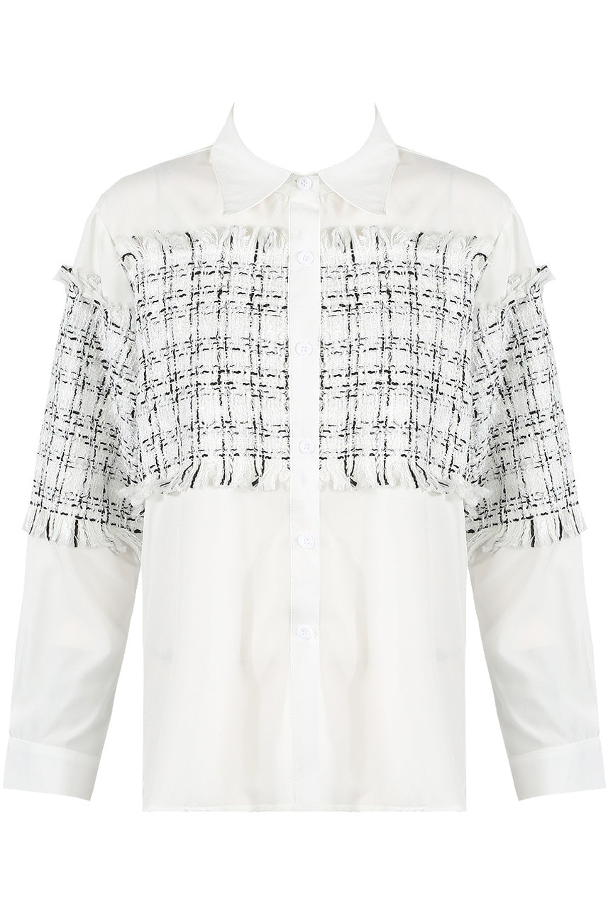 White Threaded Design Trim Button Shirt - Juliana