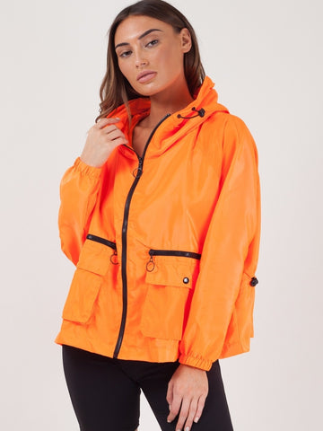 Neon Orange Hooded Rain Parka Festival Jacket - Margaret