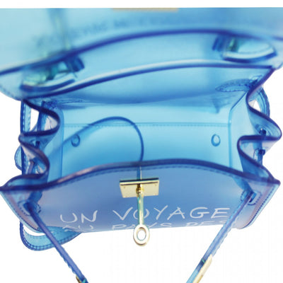 Blue Un Voyage Top Handle Mini jelly Tote Bag - Vera - storm desire