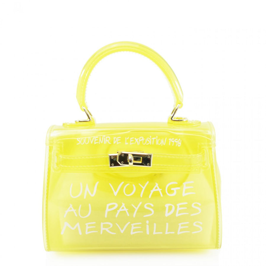 Yellow Un Voyage Top Handle Mini jelly Tote Bag - Vera