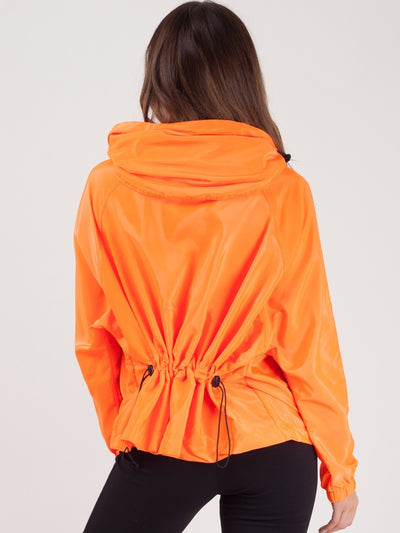 Neon Orange Hooded Rain Festival Surf Jacket - Maggie