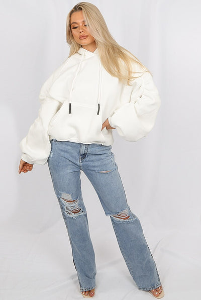 Off White Ruched Sleeve Hooded Sweatshirt - Kora