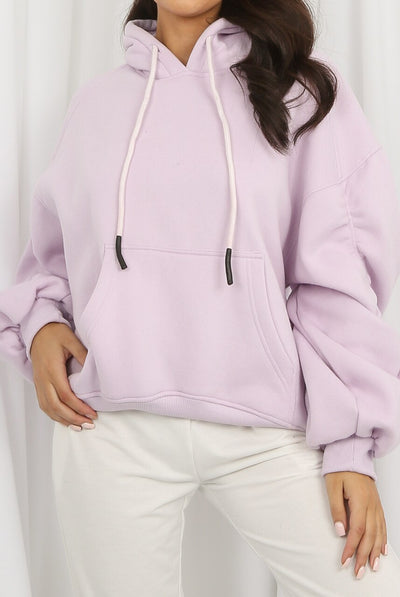 Lilac Ruched Sleeve Hooded Sweatshirt - Kora