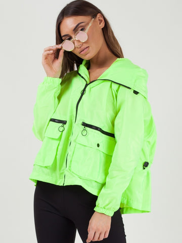 Neon Green Hooded Rain Parka Festival Jacket - Margaret