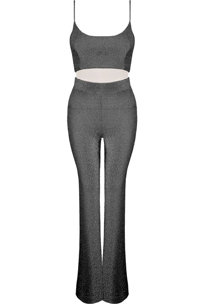 Silver Lurex Bralet & High Waisted Flare Trousers Set - Amelia