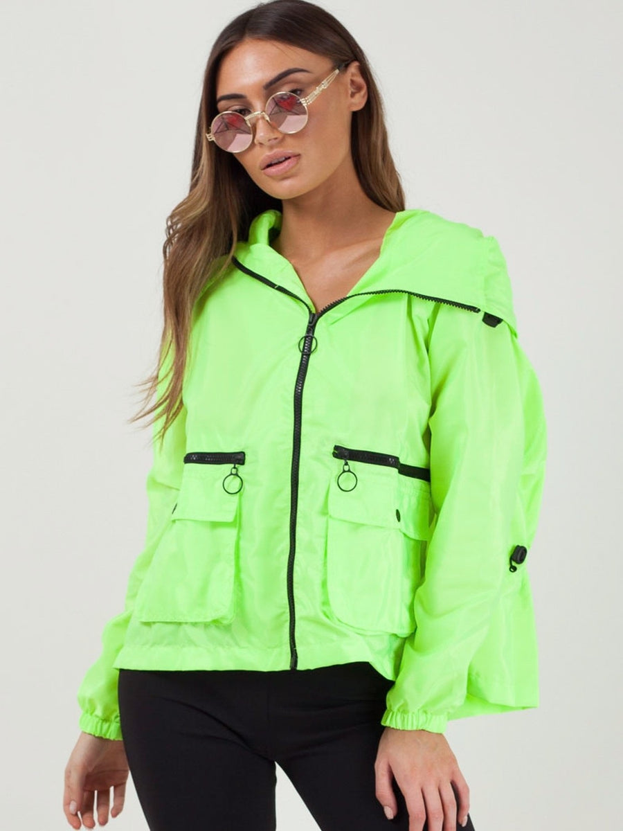 Neon Green Hooded Rain Parka Festival Jacket - Maggie