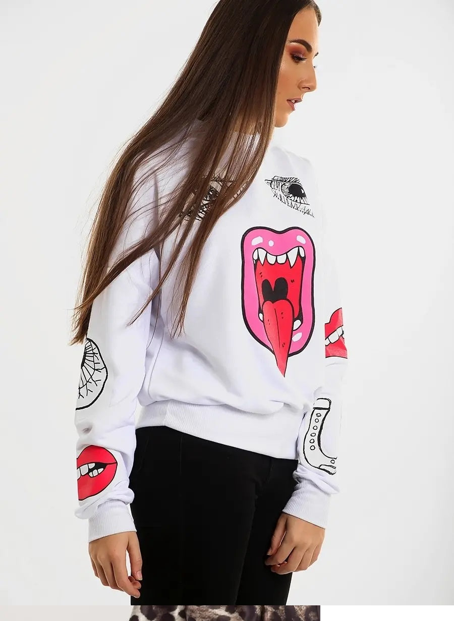 White Monster Printed Sweatshirt Jumper - Lilly - Storm Desire
