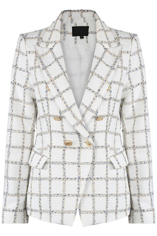 Cream Metallic Thread Double breast Check Blazer Jacket - Khloe - storm desire