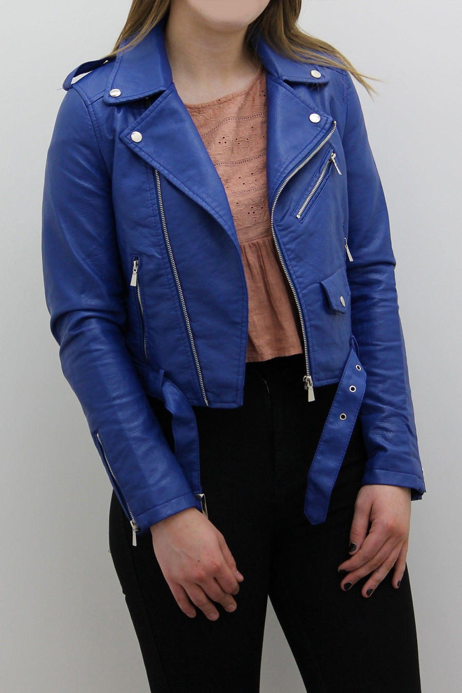 Royal Blue Leather Zipped Biker Jacket - Juniper