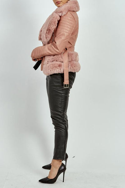 Baby Pink Lux Faux Leather Fur rim Biker Jacket - Kimora