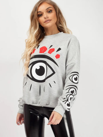 Grey Big Eye Printed Sweatshirt Jumper - Molly - storm desire