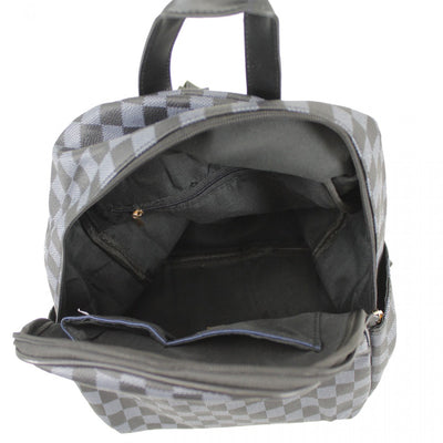 Black Checkered Midi BackPack - Izabella - storm desire