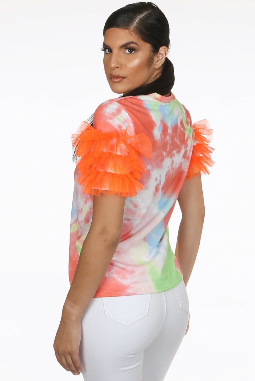 Orange Tie Dye Mesh Sleeve Top - Rachel