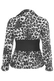 Grey Leopard Print Banded Waist Peplum Blouse Top - Lydia - storm desire