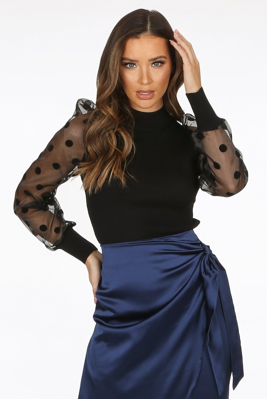 Black Polka Dot Mesh Sleeve Knitted Jumper - Elise